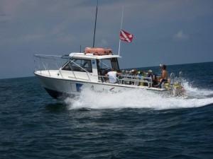 East coast of North Carolina taknig a scuba diving charter boat to dive sites